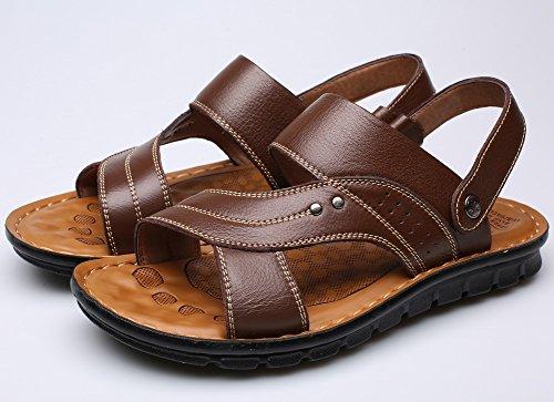 Vocni Menns Åpen Tå Tilfeldig Skinn Komfort Sko Sandaler Sandaler For Menn Brun