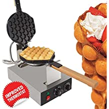 Egg Waffle Maker Professional Rotated Nonstick (Grill / Oven for Cooking Puff, Hong Kong Style, Egg, QQ, Muffin, Cake Eggettes and Belgian Bubble Waffles) (110V with US Plug)