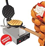 Egg Puffle Waffle Maker Professional Rotated Nonstick (Grill / Oven for Cooking Puff, Hong Kong Style, Egg, QQ, Muffin, Cake Eggettes and Belgian Bubble Waffles) (110V with US Plug)
