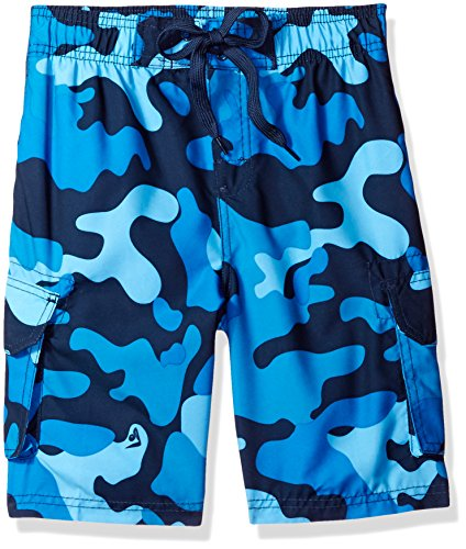 Kanu Surf Big Boys' Camo Swim Trunk, Navy, Medium (10/12) - Navy Trunk