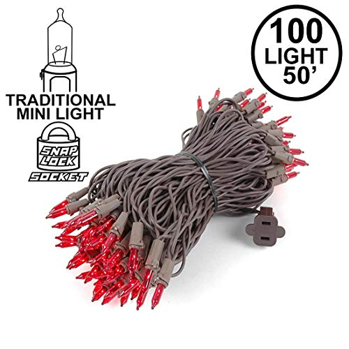 Novelty Lights 100 Light Red Christmas Mini String Light Set, Brown Wire, Indoor/Outdoor UL Listed, 50' Long -