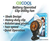 "O2COOL 5"" Clip On Fan - Battery Operated with 2 Speeds - Adjustable Tilt & Swivel Feature for Outdoor, Office Desk & Dorm Room (Orange)"