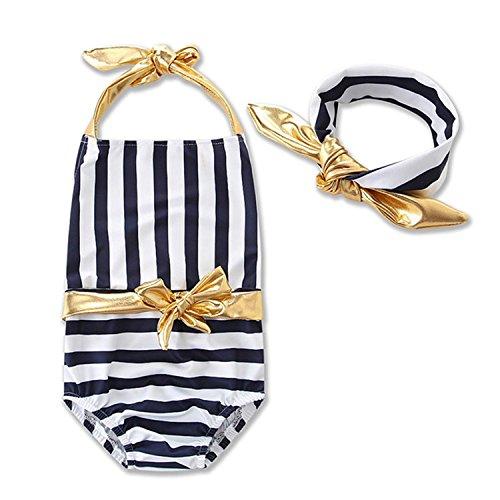 Dataiyang Girls Children Striped Jumpsuit One Piece Suits + Headband Monokini Swimwear Swimsuit Bikini Gifts by DATAIYANG Fashion-bikini-sets