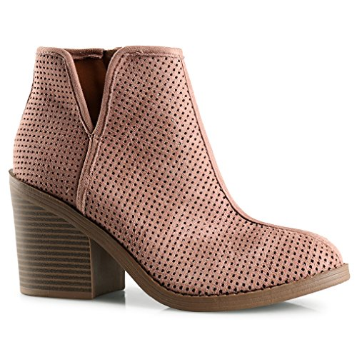 Height 6 Material - Womens Lynn Perforated Laser Cut Out Stacked Chunky Block High Heel Ankle Bootie D Blush SU 6
