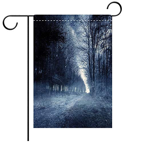 Artistically Designed Yard Flags, Double Sided Halloween Ghostly Haunted Forest Image Bleak Gloomy Misty Nature Landscape Decorative White Black Light Blue Best for Party Yard and Home Outdoor Decor ()