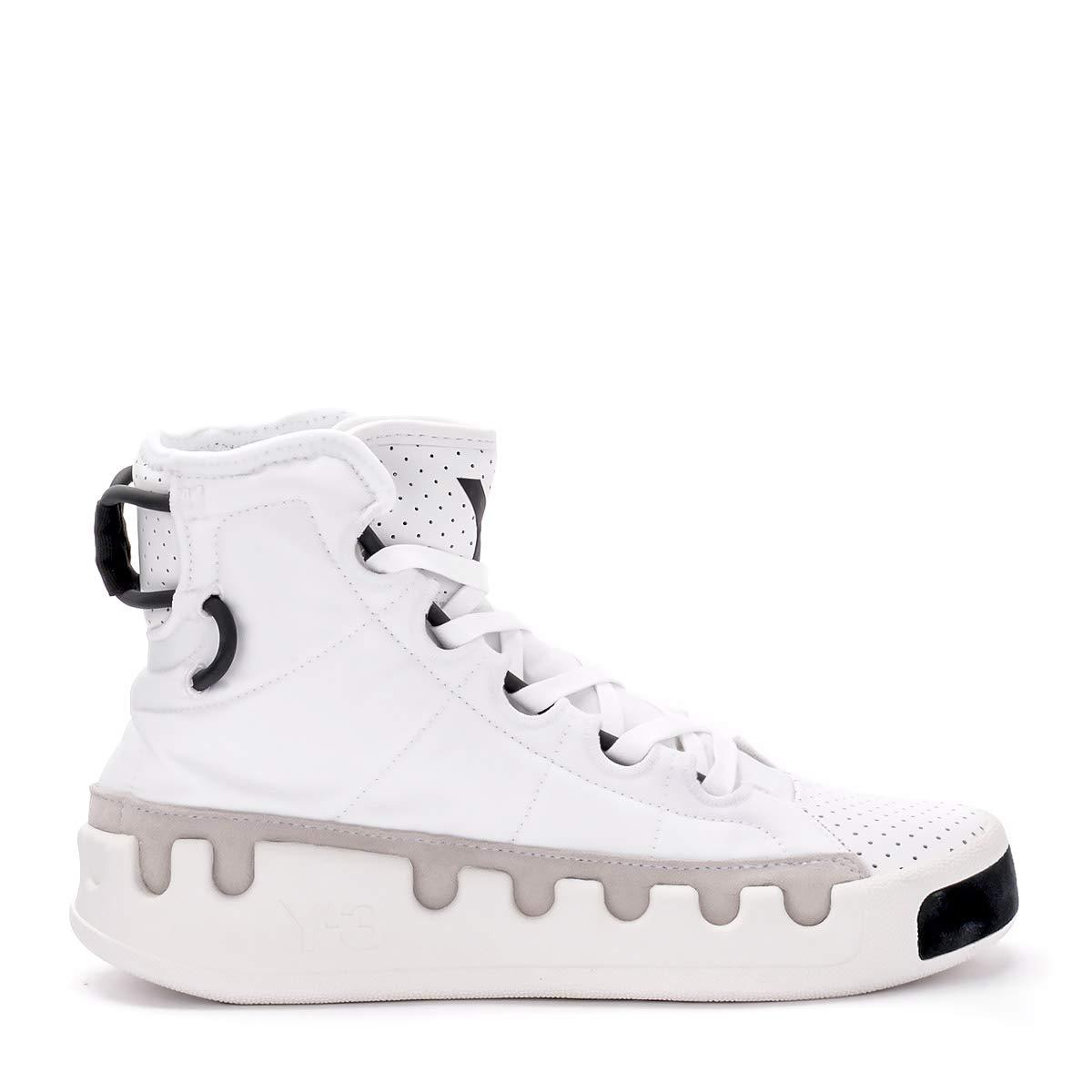 White Y-3 Man's Kasabaru White Pierced Leather Sneaker