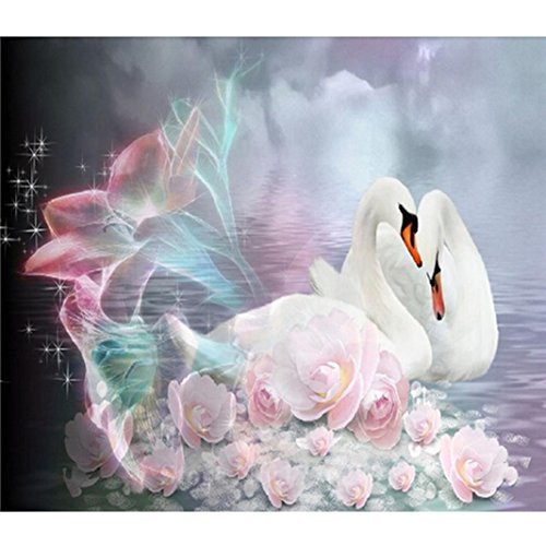 Franterd Lovely Animal, DIY Diamond Painting, 5D Full Drilled Cross Stitch, Square Crystals Diamond Embroid (1, Swan)