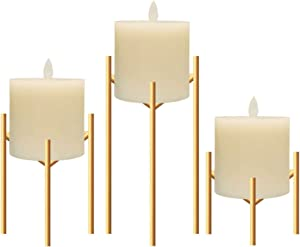 Only-us Metal Pillar Candle Holders Set of 3 Gold Candlesticks for Fireplace/Living Room/Dinning Room Table Candelabra Decoration Modern Art Classic Design with Geometric Shape