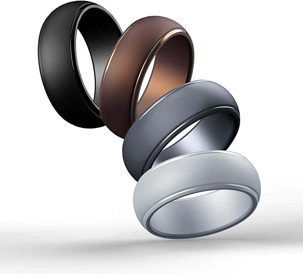 Cabepow Silicone Wedding Ring for Men, 4 Packs & Singles Silicone Rubber Wedding Bands - Step Edge Sleek Design - Metallic, Black and Camo Colors-Size 9 10 11 12 13