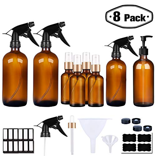 PrettyCare Glass Spray Bottle for Cleaning Product and Essential Oils Amber (16 oz x2, 8 oz x2, 50 ml x4, Labels, Funnels, Lotion Pumps, Eye Dropper) Small White Fine Mist Sprayer with Golden Caps ()