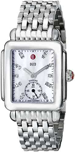 MICHELE Deco 16 Stainless Steel White Diamond Dial Bracelet Watch silver