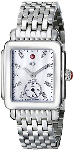 MICHELE Deco 16 Stainless Steel Whey-faced Diamond Dial Bracelet Watch silver