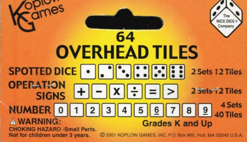 Overhead Tiles (64-ct: 1-6 Dot Dice, 6 Operation Signs & 0-9 Number Tiles)