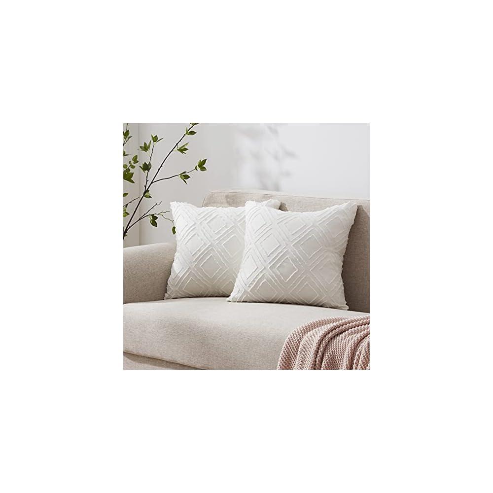 ACCURATEX Diamond Geometric Jacquard Throw Pillow Covers Boho Decorative Soft Plush Farmhouse Cushion Covers for Couch…