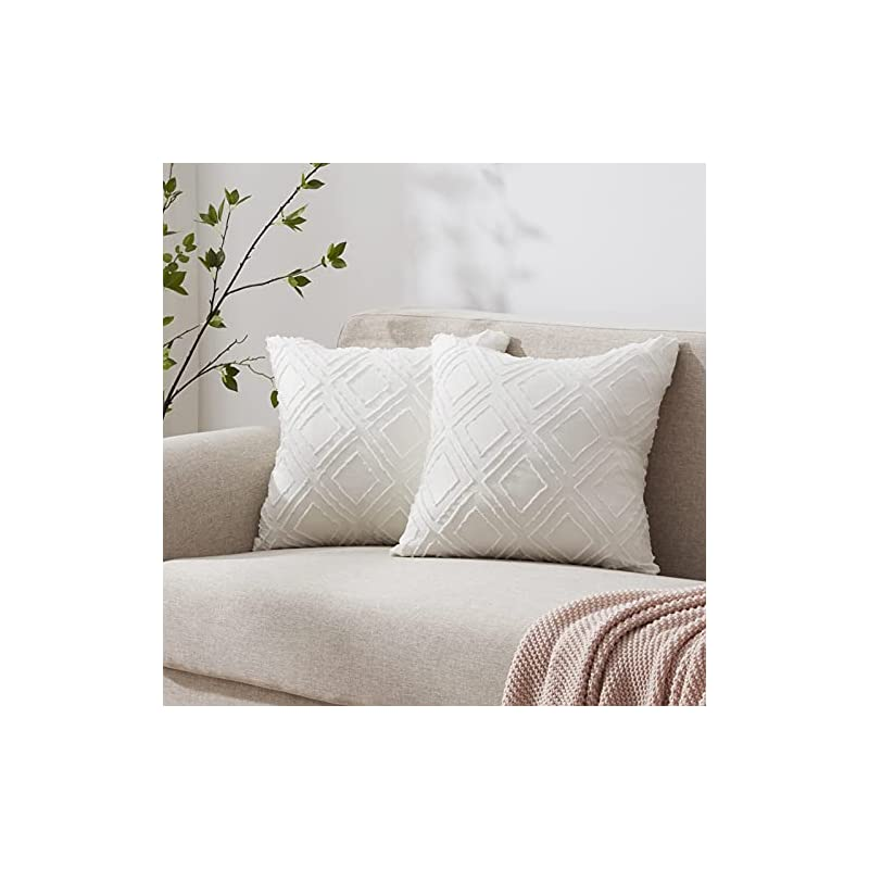 Accuratex Diamond Geometric Jacquard Throw Pillow Covers Boho Decorative Soft Farmhouse Cushion Covers for Couch Bedroom…