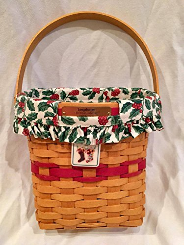 1998 Edition Longaberger Christmas Basket with Holly Liner, Tie-On and Plastic Protective Liner