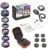 ULTIMATE 9 in 1 Smartphone Camera Lens Kit for iPhone 6/7/8/X, Samsung, Android Cell Phones | Telephoto+Fish Eye+Kaleidoscope+X-Wide Angle+CPL+Macro | BONUS Remote Shutter+Selfie Light by Bito Store