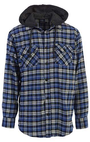 Gioberti Men's Removable Hoodie Plaid Checkered Flannel Shirt, Black/Royal Blue/Gray Highlight, Large