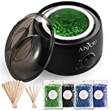 Wax Warmer, Hair Removal Waxing Kit, Anjou Electric Wax Heater with 4 Scents Hard Wax Bean and 15 Wax Applicator Sticks, DIY Depilatory Machine for Arm, Leg and Toe