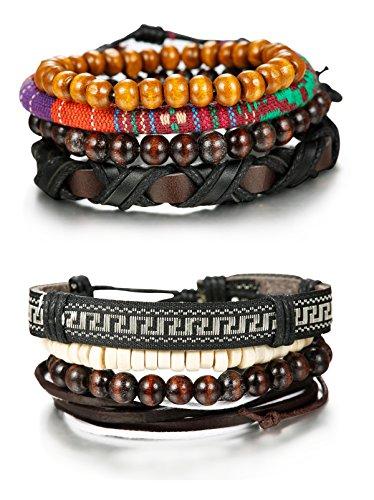 FIBO STEEL 8 Pcs Wooden Beaded Bracelets for Men Women Leather Cuff Bracelet (Bracelets)