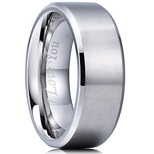 King Will BASIC 8mm Stainless Steel Ring Matte Finish & Polished Beveled Edge with Laser Etched I Love - Beveled Band Polished