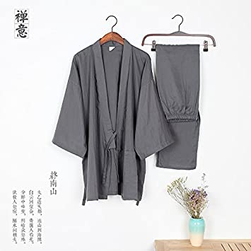 Floja y transpirable de algodón doble gasa pijama traje chándal de los hombres del kimono