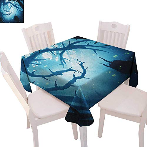 Mystic Dinner Picnic Table Cloth Animal with Burning Eyes in The Dark Forest at Night Horror Halloween Illustration Waterproof Table Cover for Kitchen 54