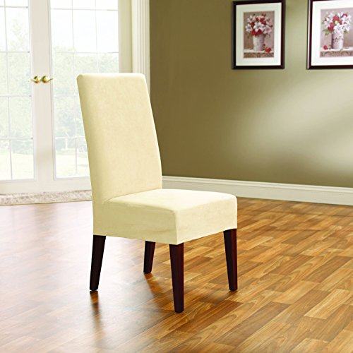Sure Fit Soft Suede    Shorty Dining Room Chair Slipcover    Cream  Sf38636