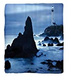Chaoran 1 Fleece Blanket on Amazon Super Silky Soft All Season Super Plush Lighthouse Decor Collection Lighthouse at the California Coast with Light Beam Peaceful Foggyurface Twilight Image Fabric et