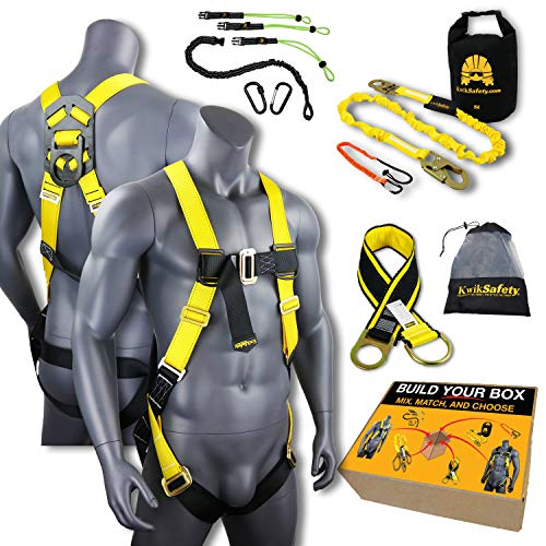 KwikSafety (Charlotte, NC) TYPHOON KIT | 3D Full Body Tongue Buckle w/Back Support Safety Harness, Bolt Pouch, 6' Lanyard, Tool Strap, 3' Anchor ANSI PPE Fall Protection Equipment Construction Bucket