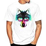 cool shirts - Hot Sale! Men's Tee, Fashion Boy T Shirt Cool Fun Animal Print Tees Short Sleeve Tops (L, Multicolor - Wolf)