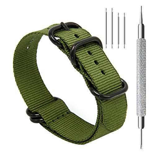 CIVO Heavy Duty G10 Zulu Military Watch Bands NATO Premium Ballistic Nylon Watch Strap 5 Black Rings with Stainless Steel Buckle 20mm 22mm 24mm