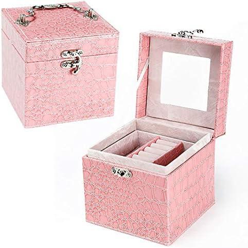 ジュエリーボックス 大ラブリージュエリーボックス化粧品ケースレザージュエリーボックス収納ケース (Color : Pink, Size : Free size)