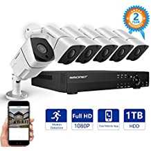 [FULL HD]1080P Wired Security Camera System,SMONET 8 Channel 2MP Outdoor/Indoor Surveillance System with 1TB HDD(AHD CCTV DVR Kits), 6pcs Weatherproof Security Cameras,Nigth Vision,P2P, Remote View
