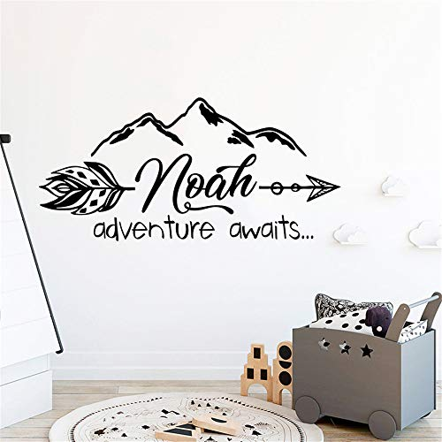 Poinly Wall Stickers Art DIY Removable Mural Room Decor Mural Vinyl Kid Room Decal Bedroom Mountain Nursery Room Personalized Custome Name