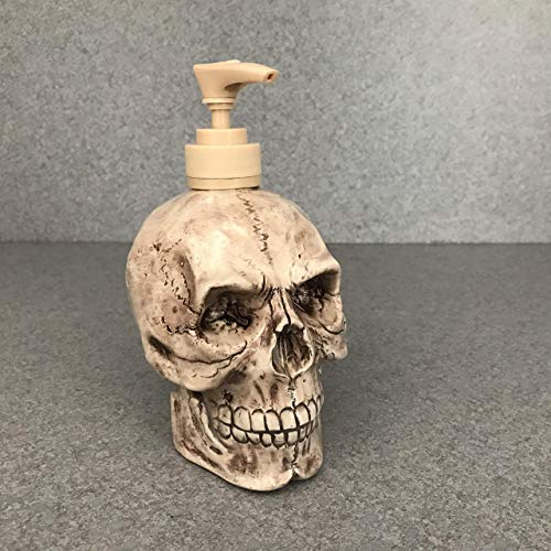 Skull Soap Dispenser in a Brown Wash Halloween Horror Pirate head Ceramic Bath Kitchen Decoration Goth Decore FREE SHIPPING]()