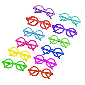Tinksky Candy Colors Glasses Frame Wizard Nerd Round Black Frame Glasses No Lenses Costume Eyewear party favors 12pcs (Assorted Colors)
