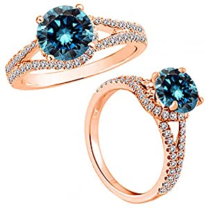 1.75 Carat Blue Diamond Fancy Solitaire Engagement Promise Anniversary Women Ring 14K Rose Gold