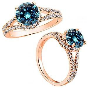 1.25 Carat Blue Diamond Fancy Solitaire Engagement Promise Anniversary Women Ring 14K Rose Gold