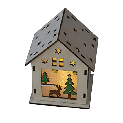 Amazoncom Dissylove Christmas Glowing Wooden House Cottage