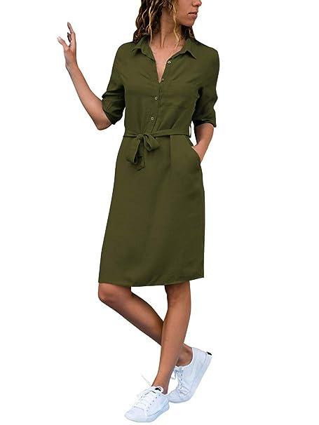 e7520aebd37f ShallGood Damen Casuel Hemdkleid Knielang Button Down V-Ausschnitt  Blusenkleid Shirt Kleid 3 4 Hülse Kragen Shift Lose Kleid Einfarbig  AbendkleidMit Gürtel  ...