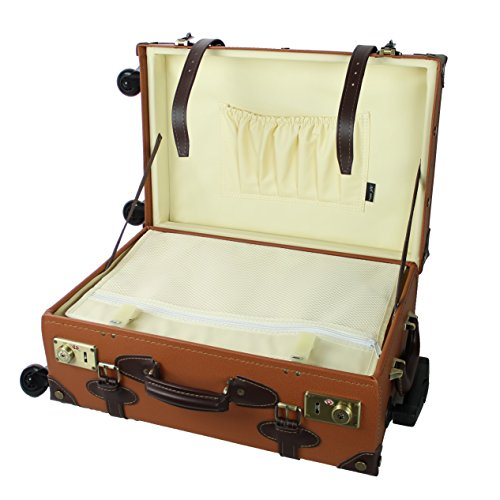 MOIERG Vintage Trolley Luggage suitcase 2tone Brown?Small(81-55035-44)