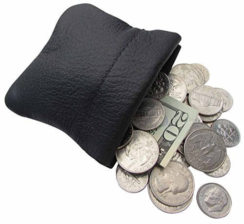 New Mens or Womens Leather Squeeze Coin Pouch -Burgundy