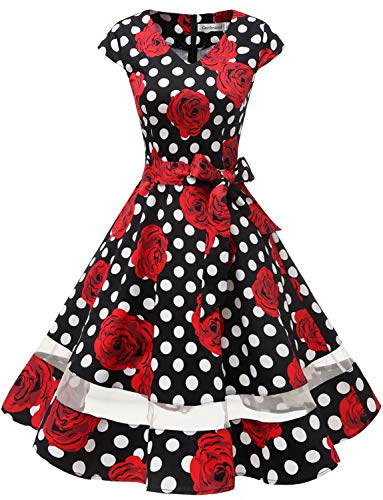 Gardenwed Women's 1950s Rockabilly Cocktail Party Dress Retro Vintage Swing Dress Cap-Sleeve V Neck Black Rose Dot XL