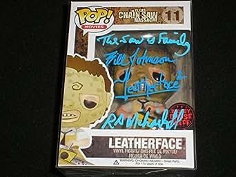 BILL JOHNSON & RA MIHAILOFF Signed Funko Pop Leatherface Bloody Chase Figure Texas Chainsaw Massacre 2