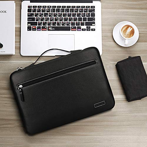 FYY 12-13.5'' [Premium Leather] Laptop Sleeve Case Cover Bag for MacBook Pro/ MacBook Air/ iPad Pro 12.9 2018 2017 2016, Laptop Bag for 12''-13.5'' Surface Lenovo Dell HP ASUS Acer Chromebook Black by FYY (Image #6)