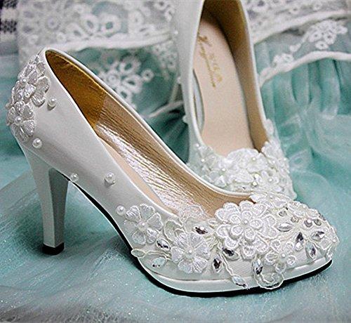 JINGXINSTORE Weiße Spitze Hochzeit Schuhe Perlen Kristall Bridals