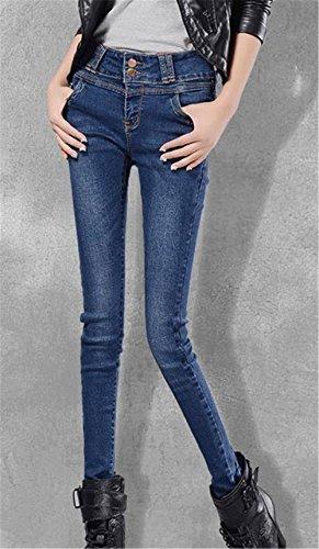 Vita Alta Pantaloni Primavera scuro Pantalone Pants Donna Jeans Autunno up tapered Blu DaBag Attillati Push Stretch xPnRqwEP