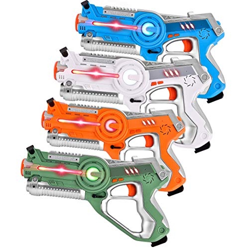 GotechoD Kids Laser Tag Set,Infrared Lazer Tag Guns 4 Player, Fun Multiplayer Laser Tag Blaster Game Guns Toys for Boys Girls Kids & Adults Group Activity Fun with Carrying Case 4 Pack