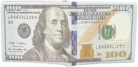 TrendsBlue Premium US Dollar USD $100 Bill Money Print PU Leather Bifold Wallet